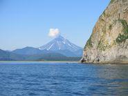 Вид на вулкан в Камчатском крае